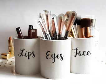 Makeup Brush Holder,face and eyes,makeup organize,makeup storage,brush organizer,Makeup Brush Jars,gift for her,vanity decor,Sweet 16,lips