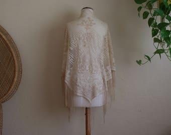 Vintage cream lace crochet fringe shawl Stevie nicks