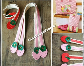 1pair-Strawberry / Apple Leather handles purse bag handles (red/pink color-4types for choice)