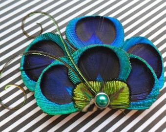 BRANDY Peacock Hair Fascinator, Clip, Couture Wedding