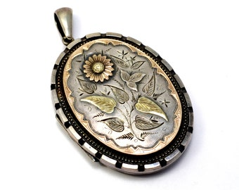 FINAL LAYAWAY PAYMENT for Margo... Antique Victorian English hallmarked 1884 sterling silver 9ct gold aesthetic sunflower locket pendant