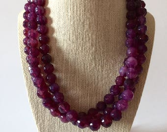 Purple Chunky Statement Necklace