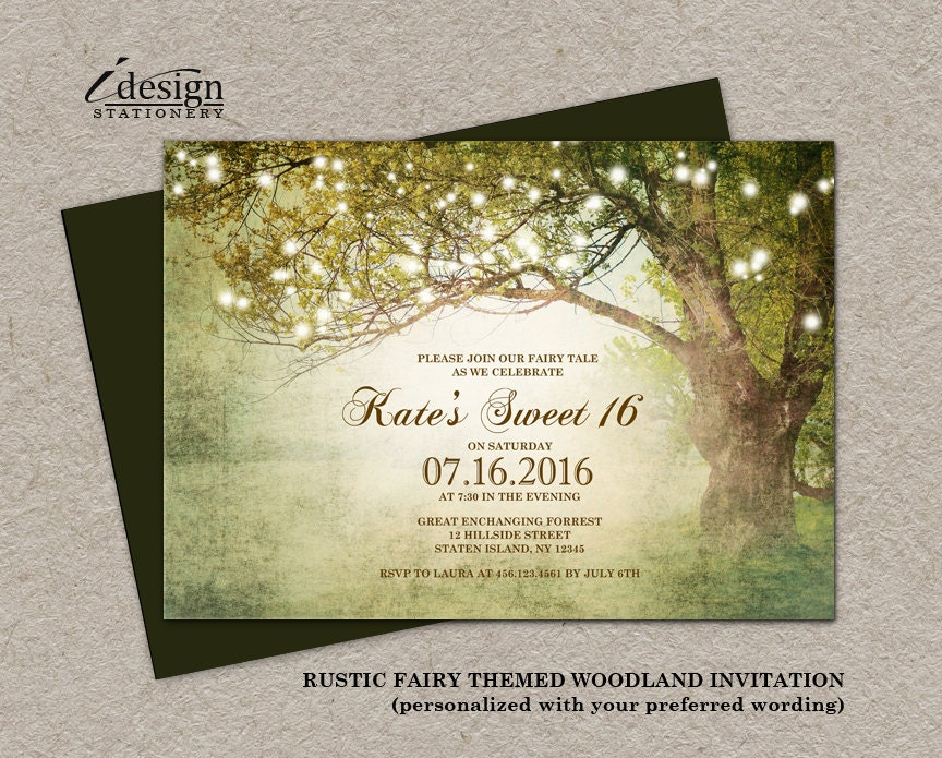 String Lights Sweet 16 Invitation Printable Fairytale Themed