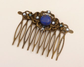 Elegant hair comb with gemstone in bronze blue festive hair accessories gift for her