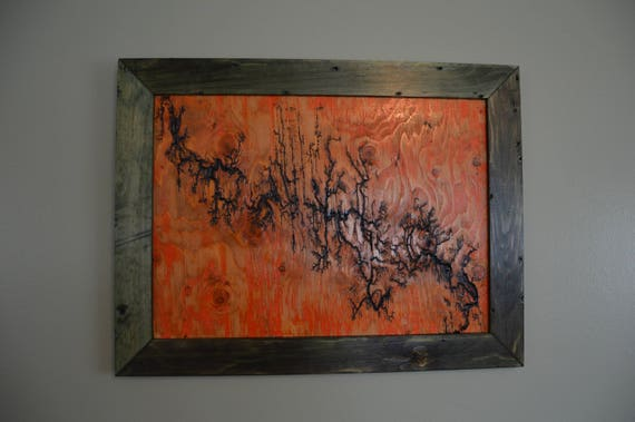 Lichtenberg Figure Fractal Art Orange Lightning Wall Decor