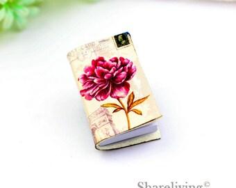 2pcs Vintage Flower Mini journal Charm / Pendant , Handmade Photo Leather Tiny Book Necklace - BL002C