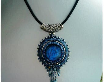 Embroidered blue Labradorite necklace