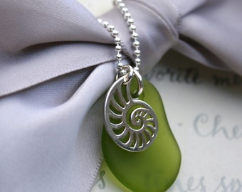 """Nautilus and Sea Glass necklace -  Sterling silver with 18"""" chain"""