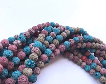 """Dyed Mixed Color Lava Bead Strand Essential Oil Diffuser Beads 10 mm - 15.7"""" strand approx. 38-40pcs"""