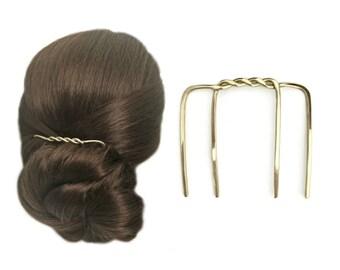 Brass Twist Hair Comb, Four 4 Prong Hair Fork, Large Hair Pin, Hair Chignon Bun Holder, Hair Slide, Long Hair Holder, Fine Medium Thick Hair