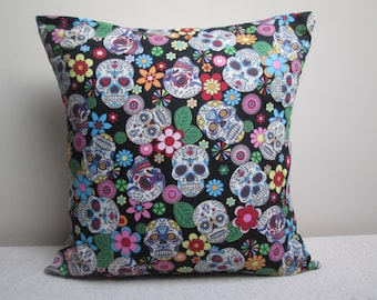 """Mexican Day Of The Dead Gothic Sugar Skulls Cushion Cover Pillow Cover Black 16"""" Ready To Ship"""
