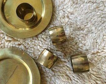 vintage brass napkin holder. boho glam brass holiday set of 4 napkin holder place setting napkin ring