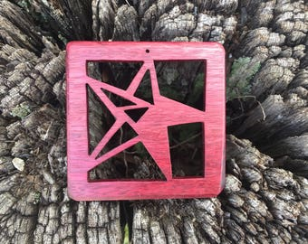 Geometric Star Sun Catcher - Handcrafted from Purpleheart wood