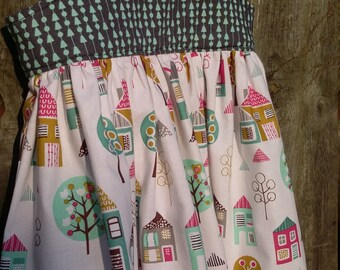 Girls dress, Size 2,  Designer cotton, Houses, Ready to Ship,  One of a kind