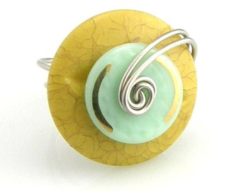 Layered Wire Wrap Button Ring Mustard Yellow Gold and Mint Green Cyber Monday Black Friday