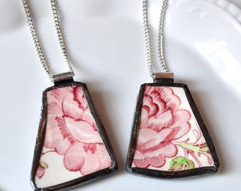 You ComPlate Me - Matching Broken Plate Friendship Necklaces - Rose Chintz - Recycled China