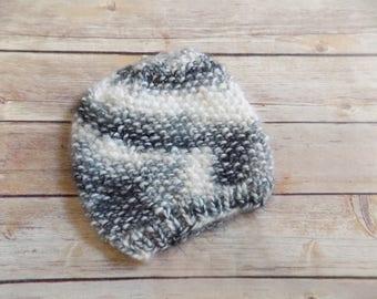 Knit Baby Hat, Black and White Beanie, Knit Fuzzy Hat, Winter Hat, Gender Neutral