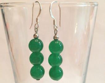 Beautiful Handmade 8MM Green Jade Dangle Earrings Entirely In 925 Sterling Silver - Free Shipping #155