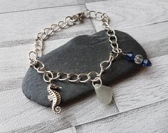 Sea horse bracelet, sea glass bracelet, charm bracelet, blue bracelet, beach style jewellery, mothers day gift, birthday gift, quirky gift