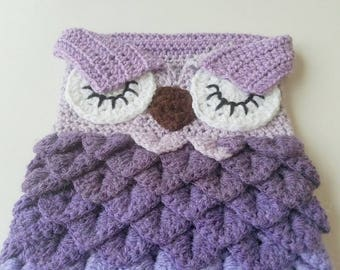 Crochet Baby Owl Cocoon and Hat Set, Snuggle Sack, Swaddling, Photo Prop, Baby Shower Gift
