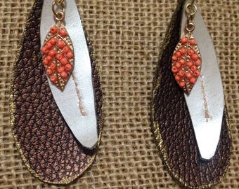 Leather Inspired Teardrop Bronze and Pearl with Coral Leaf Earrings