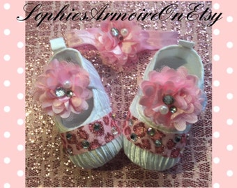Baby Shoes*Girls Shoes*Newborn Shoes*Pink Shoes*Infants Shoes*Bling Baby*Leopard Baby Shoes*