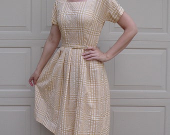 1950's 1960's golden yellow PLAID BELTED DRESS S