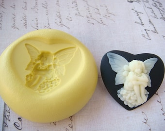 FAIRY / FAIRIE Heart Shaped Cameo - Flexible Silicone Mold - Push Mold, Polymer Clay Mold, Pmc Mold, Resin Mold, Clay Mold