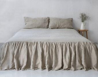 Natural LINEN COVERLET. Linen bedskirt. Linen dust ruffle. Gathered Bedskirt.