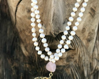 Handmade Pearl and Quartz Stone Boho Necklace