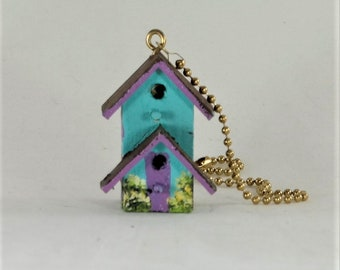 Birdhouse Light / Fan Pull  , Turquoise and Lavender Trim Two Story Birdhouse Light / Fan Pull , Hand Painted
