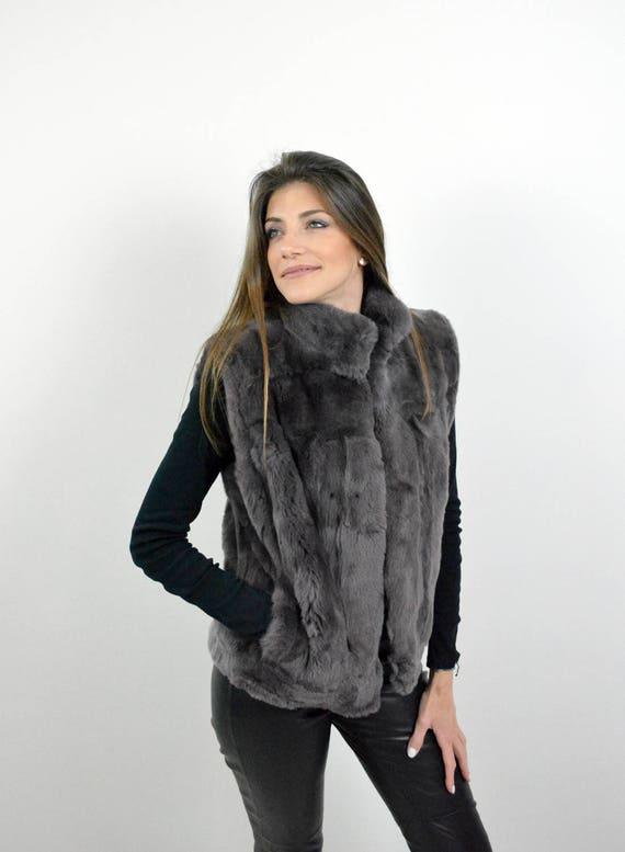 gilet de fourrure de lapin rex veste sans manches femme. Black Bedroom Furniture Sets. Home Design Ideas