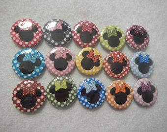 15 Rainbow Polkadot Minnie Mouse Inspired Craft Flat Back Embellishment Buttons