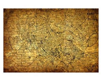 ROME Vintage Map 5E - Handmade Leather Journal / Sketchbook - Travel Art