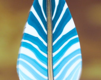 Large Blue Polymer Clay Feathered Leaf Cane (51C)