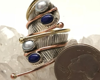 Lapis and Pearl Ring Size 9
