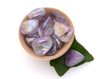 Amethyst aura tumblestone, aurora quartz pocket stone, one piece