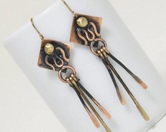 Copper earrings, Long earrings, Dangle earrings, Mixed Metal Earrings,  Boho Earrings, Bohemian Earrings, Dangle Jewelry