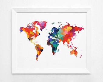World map black and white geometric world map wall art geometric world map art print instant download printable decor digital art print world map big size colorful world map gumiabroncs Gallery