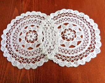 White Crocheted Doilies, Round Crocheted Place Mats, Handmade Lace Doilies, Wedding Decor