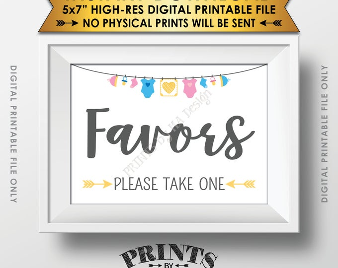 """Favors Sign, Baby Shower Favors Please Take One, Thank You Take a Favor, Gender Neutral 5x7"""" Printable Instant Download Baby Shower Sign"""