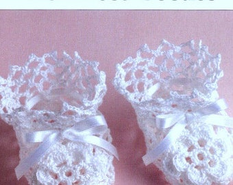 Vintage Crochet Pattern PDF Baby Booties Irish Rose Lace Christening Baptism Shoes Boots
