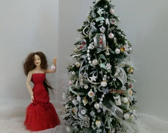 Miniature Christmas tree White 1/12 scale by Mable Malley