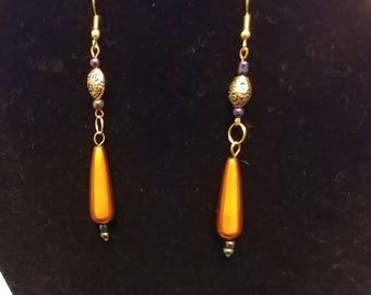 Bronze Beaded Dangle Earrings