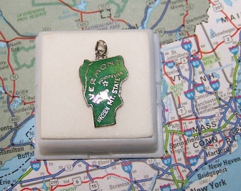 Vintage Vermont Sterling  and Enamel State Charm -- Montpelier and Rutland