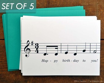 Music Birthday Card / Set of 5 Happy Birthday To You! MUSIC NOTE birthday cards / Musician birthday card / Treble clef card
