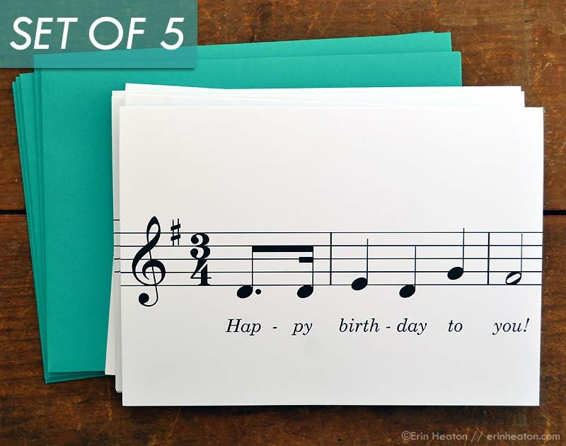 Music birthday card set of 5 happy birthday to you music zoom bookmarktalkfo Images