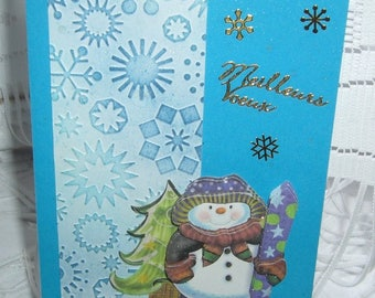 Double card best wishes for the holiday season blue 3 d with envelope