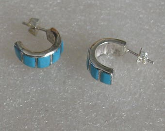 SALE Sterling Silver Turquoise 1/2 Hoop Post Earrings 15mm