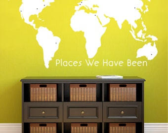 World Map - Places We've Been - Family and Living Room Office Shapes Wall Decals